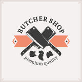Butcher Shop Logo, Meat Label Template Royalty Free Stock Photo