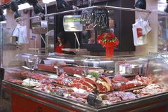 Butcher shop in market. Barcelona. Spain Royalty Free Stock Photos