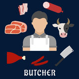 Butcher shop and meat flat icons Royalty Free Stock Photos