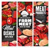 Butcher shop, farm meat vector products vector illustration