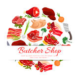 Butcher shop meat products poster for food design Stock Photos