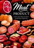 Butcher shop meat sausages gourmet delicatessen. Meat and sausages, butchery shop gourmet pork and beef products. Vector grocery store food of salami or vector illustration