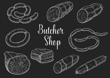 Butcher shop meat sausages sketch vector icons Royalty Free Stock Photography