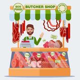 Butcher Shop. Meat Seller. Meat Products Royalty Free Stock Image
