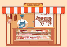 Butcher Shop. Meat Seller.. Store shelves with pork meat, veal and ham, salami slices, sausage, bacon and beef. Fresh steak Stock Photos