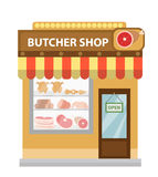 Butcher shop, meat showcase, icon flat style Royalty Free Stock Images