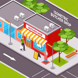 Butcher Shop Outside Isometric Design. With advertising striped awning passing man road infrastructure and trees vector illustration Stock Images