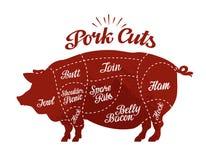 Butcher shop. Pork cuts. Vector illustration Royalty Free Stock Images