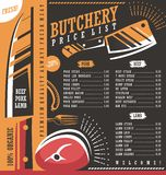 Butcher shop price list  design Royalty Free Stock Photography