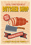 Butcher Shop Retro Style Poster. With sliced sausage knife ribbon on beige textured background vector illustration Stock Photo