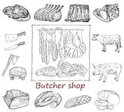 Butcher shop set Stock Photography