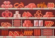 Meat product at butcher store or shop stall. Butcher shop showcase with prices. Meat product store or market stand or stall with sausage and cattle ham, kielbasa Stock Images