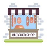 Butcher shop storefront. Building exterior with products Stock Image