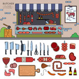 Butcher shop on the street Royalty Free Stock Photos