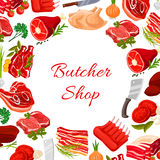 Butcher shop vector round poster of butchery meat. Butchery poster with fresh farm meat products of turkey and chicken leg, pork tenderloin bacon and mutton ribs Royalty Free Stock Photos