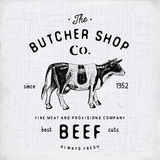 Butcher Shop vintage emblem beef meat products, butchery Logo template retro style. Vintage Design for Logotype, Label, Badge and Royalty Free Stock Photography