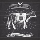 Butcher Shop vintage emblem beef meat products, butchery Logo template retro style. Vintage Design for Logotype, Label, Badge and Royalty Free Stock Image