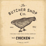 Butcher Shop vintage emblem, chiken meat products, butchery Logo template retro style. Vintage Design for Logotype, Label, Badge a Royalty Free Stock Photos