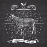 Butcher Shop vintage emblem goat meat products, butchery Logo template retro style. Vintage Design for Logotype, Label, Badge and Royalty Free Stock Image