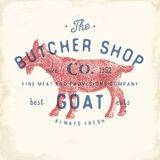 Butcher Shop vintage emblem goat meat products, butchery Logo template retro style. Vintage Design for Logotype, Label, Badge and Stock Image