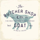Butcher Shop vintage emblem goat meat products, butchery Logo template retro style. Vintage Design for Logotype, Label, Badge and Royalty Free Stock Images