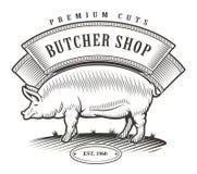Butcher shop vintage emblem. stock illustration