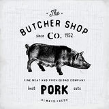 Butcher Shop vintage emblem pork meat products, butchery Logo template retro style. Vintage Design for Logotype, Label, Badge and Stock Photos
