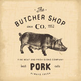 Butcher Shop vintage emblem pork meat products, butchery Logo template retro style. Vintage Design for Logotype, Label, Badge and Royalty Free Stock Photo