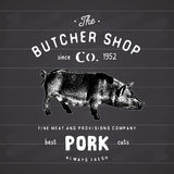 Butcher Shop vintage emblem pork meat products, butchery Logo template retro style. Vintage Design for Logotype, Label, Badge and Royalty Free Stock Images