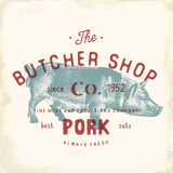 Butcher Shop vintage emblem pork meat products, butchery Logo template retro style. Vintage Design for Logotype, Label, Badge and Stock Photo