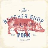 Butcher Shop vintage emblem pork meat products, butchery Logo template retro style. Vintage Design for Logotype, Label, Badge and. Brand design. vector Royalty Free Stock Photos
