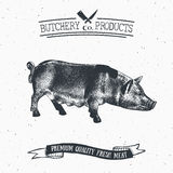 Butcher Shop vintage emblem pork meat products, butchery Logo template retro style. Vintage Design for Logotype, Label, Badge and. Brand design. vector Royalty Free Stock Images