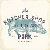 Butcher Shop vintage emblem pork meat products, butchery Logo template retro style. Vintage Design for Logotype, Label, Badge and Royalty Free Stock Image