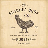 Butcher Shop vintage emblem rooster meat products, butchery Logo template retro style. Vintage Design for Logotype, Label, Badge a Stock Photography