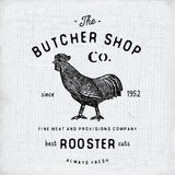 Butcher Shop vintage emblem rooster meat products, butchery Logo template retro style. Vintage Design for Logotype, Label, Badge a Stock Photos