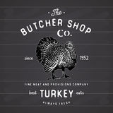 Butcher Shop vintage emblem turkey meat products, butchery Logo template retro style.  Royalty Free Stock Photos