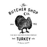 Butcher Shop vintage emblem turkey meat products, butchery Logo template retro style. Vintage Design for Logotype, Label, Badge an Stock Photography