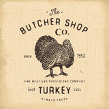 Butcher Shop vintage emblem turkey meat products, butchery Logo template retro style. Vintage Design for Logotype, Label, Badge an Royalty Free Stock Photos