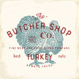 Butcher Shop vintage emblem turkey meat products, butchery Logo template retro style. Vintage Design for Logotype, Label, Badge an Stock Photos
