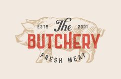Butcher shop vintage logo Royalty Free Stock Photo