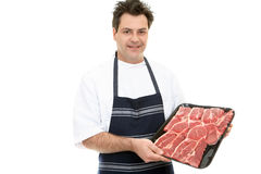 Butcher showcasing steak Stock Photo