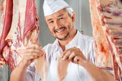 Butcher Showing Chicken Pieces Amidst Meat Royalty Free Stock Photos