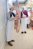 Butcher with side meat. Butcher with side of meat royalty free stock image