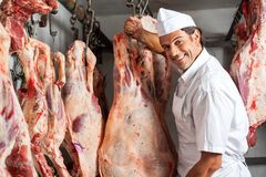 Butcher Standing By Meat Hanging In Slaughterhouse. Portrait of happy male butcher standing by meat hanging in slaughterhouse royalty free stock photos
