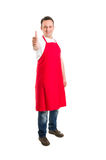 Butcher or supermarket worker showing thumbs up Stock Photos