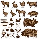 Butcher tools. Farm animals. Fresh pork. Stock Photos