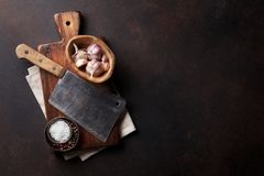 Butcher. Vintage meat knife and spices stock photo