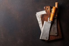Butcher. Vintage meat knives royalty free stock image