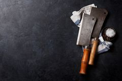 Butcher. Vintage meat knives royalty free stock images