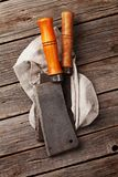 Butcher. Vintage meat knives and kitchen towel. Top view Stock Image